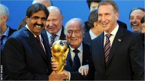 Qatar's Sheikh Hamad bin Khalifa Al-Thani (left), Fifa president Sepp Blatter (centre) and Russia Deputy Prime Minister Igor Shuvalov