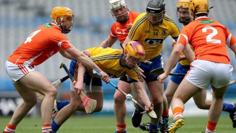 Armagh players close in on Roscommon's Cillian Egan during the final at Croke Park in Dublin