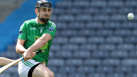 Declan McGarry of Fermanagh scores the second goal during the Lory Meagher hurling final against Sligo