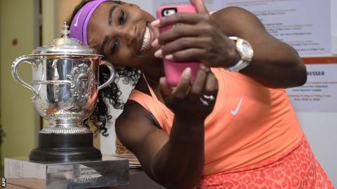 Serena Williams celebrates her French Open triumph