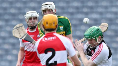 Shane Nolan scores the first goal in Kerry's 1-20 to 0-12 victory over Derry in the final of the 2015 Christy Ring Cup