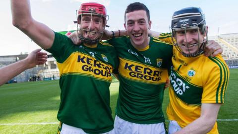 Patrick Kelly, David Butler and Stephen Murphy celebrate after Kerry's 11-point win over Derry