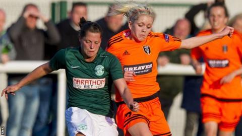 Hibs' Lisa Robertson (left) battles Glasgow City's Denise O'Sullivan in Thursday's League Cup final