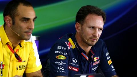 Red Bull team boss Christian Horner and Renault's Cyril Abiteboul