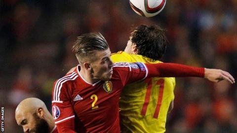 Belgium defender Toby Alderweireld challenges Wales forward Gareth Bale during their 0-0 draw in Brussels in November 2014