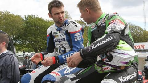 William Dunlop (left) with Gary Johnson prior to his crash at the Isle of Man TT races