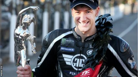 Ian Hutchinson wins an emotional Supersport TT race on the Isle of Man
