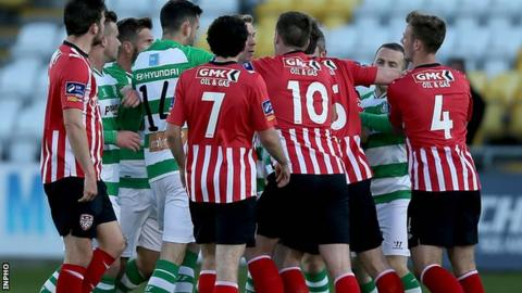 Tempers flared during Derry City's 4-1 defeat by Shamrock Rovers in Tallaght
