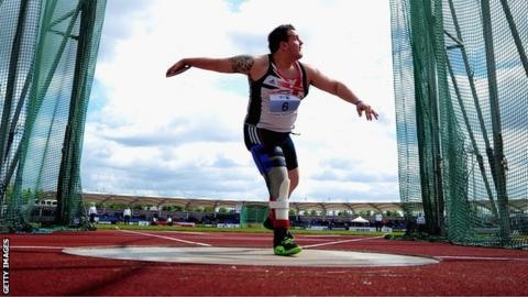 Aled Sion Davies holds the F42 discus world record with 48.87m