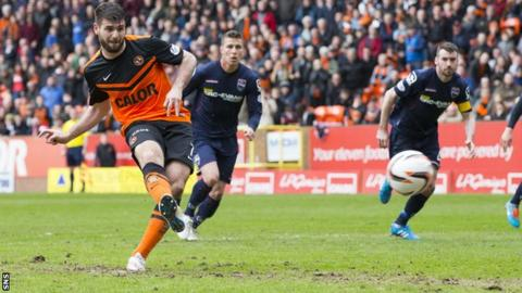 Nadir Ciftci scores a penalty for Dundee United against Ross County