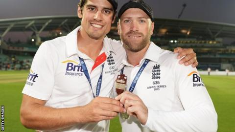 Matt Prior (right) with Alastair Cook