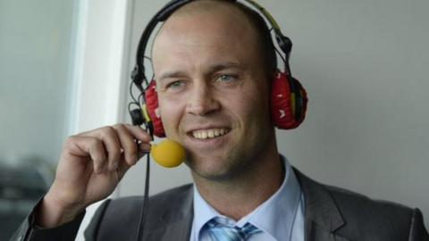 Jonathan Trott in the TMS box at Egbaston