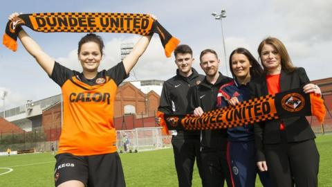 Dundee United players Steph Thompson and John Souttar, Dundee United community manager Gordon Grady, SFA development officer Sam Milne and Dundee United director Justine Mitchell
