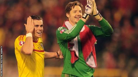 Gareth Bale and Wayne Hennessey
