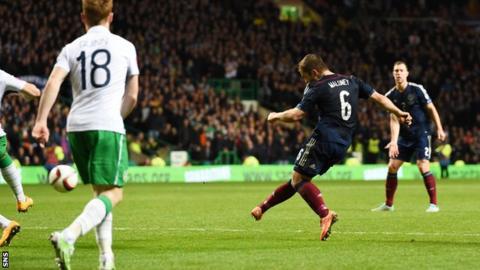 Shaun Maloney scores for Scotland against Republic of Ireland