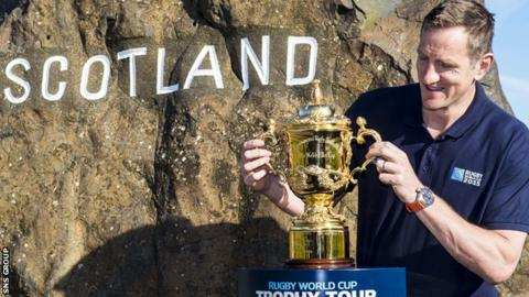 Former World Cup winner Will Greenwood welcomes the trophy to Scotland