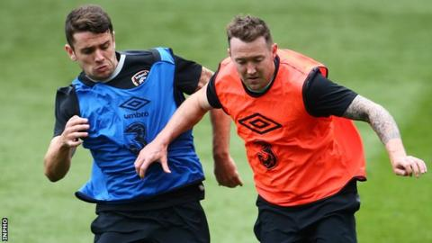 Robbie Brady and Aiden McGeady during a Republic training session last week