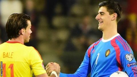 Wales' Gareth Bale (left) and Belgium keeper Thibaut Courtois