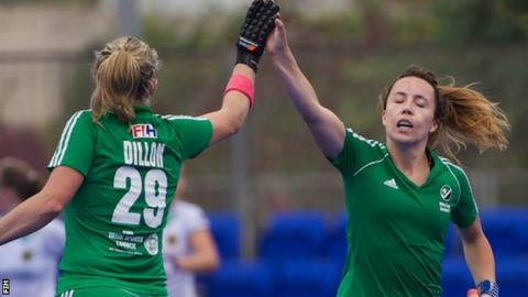 Anna O'Flanagan (right) pulled a goal back for Ireland's goal in Thursday's 3-1 defeat by Germany