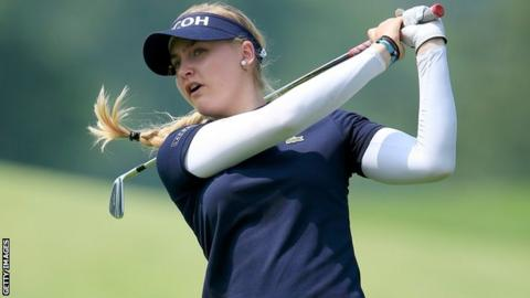 Charley Hull in first round action at the Women's PGA Championship