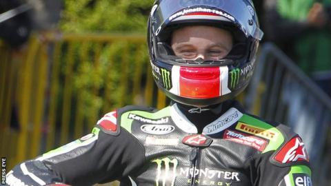 Jonathan Rea pictured after his lap of the TT circuit on the Isle of Man