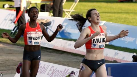 Laura Muir wins the 1,500m