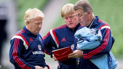 Scotland manager Gordon Strachan and assistants Stuart McCall and Mark McGhee