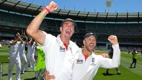 Kevin Pietersen and Matt Prior pictured celebrating an England victory