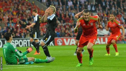 Gareth Bale celebrates scoring against Belgium