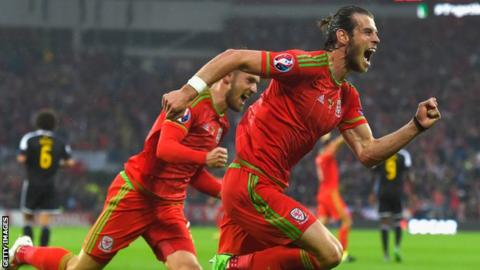 Goal-scorer Gareth Bale and Aaron Ramsey celebrate after taking the lead against Belgium