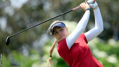Charley Hull drives at the KPMG Women's PGA Championship in New