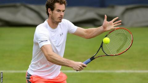 Andy Murray in practice at Queen's Club