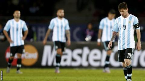 Argentina players including Lionel Messi after the draw with Paraguay