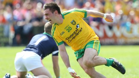 Martin O'Reilly celebrates after scoring Donegal's second goal in their 2-11 to 0-8 Ulster Championship victory over Armagh