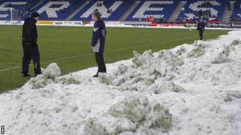 Caledonian Stadium under snow