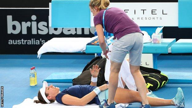 Konta needed treatment but played on until she eventually retired when 3-2 down in the deciding set