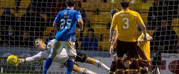 Motherwell goalkeeper Connor Ripley makes a save