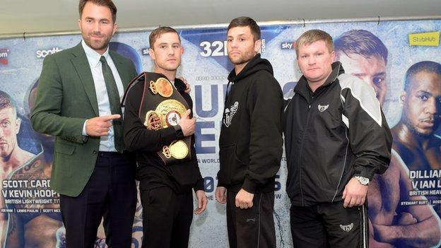 Boxing promoter Eddie Hearn, Ricky Burns, Kiryl Relikh and Ricky Hatton