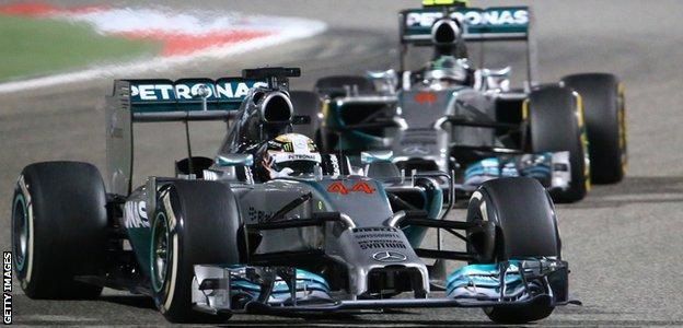 Lewis Hamilton and Mercedes team-mate Nico Rosberg battle at the 2014 Bahrain Grand Prix