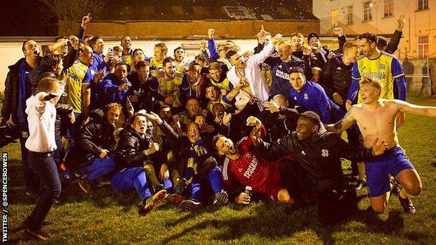 Hashtag United celebrate winning the Eastern Counties League Division One South title