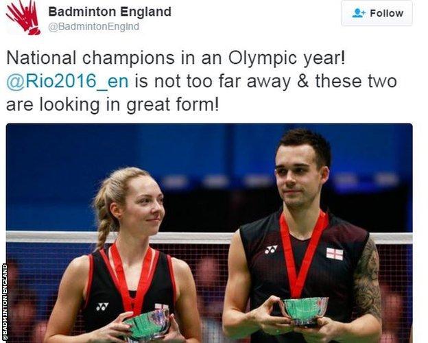 Badminton England twitter