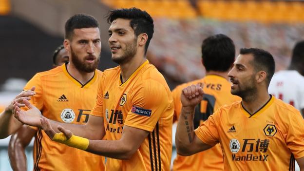Wolverhampton Wanderers 1-0 (2-1 agg) Olympiakos: Raul Jimenez goal sends Wolves into last eight - bbc