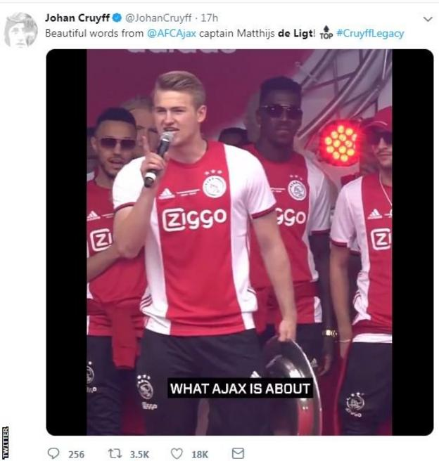 Matthijs de Ligt also gave a moving speech referencing the late Johan Cruyff