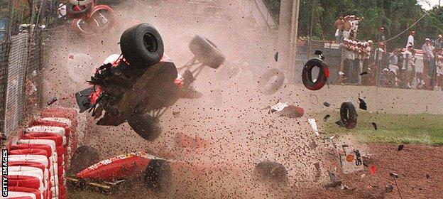 McLaren F1 driver Michael Andretti in action in 1993