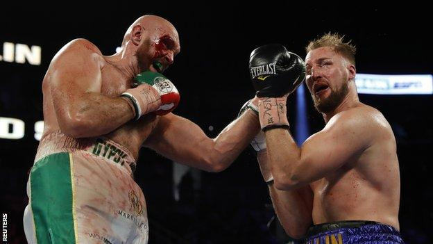 Tyson Fury in action against Otto Wallin