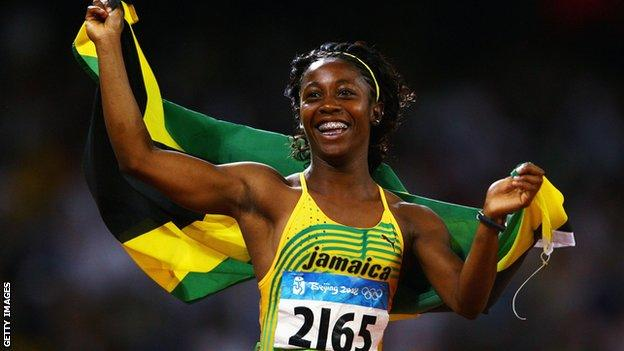 Shelly-Ann Fraser-Pryce of Jamaica celebrates winning the Women's 100m Final in 2008 Olympic final