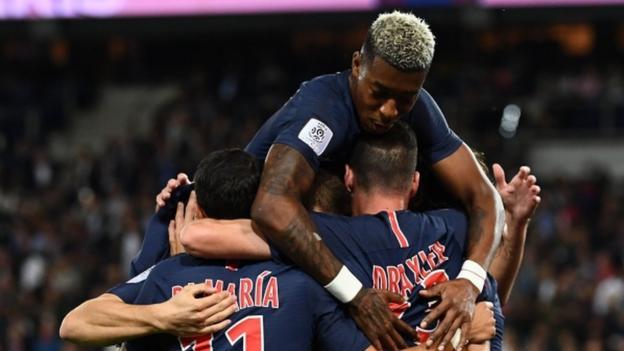 Paris St Germain   Saint Etienne Psg Warm Up For Liverpool Tie With Comfortable Win Bbc Sport