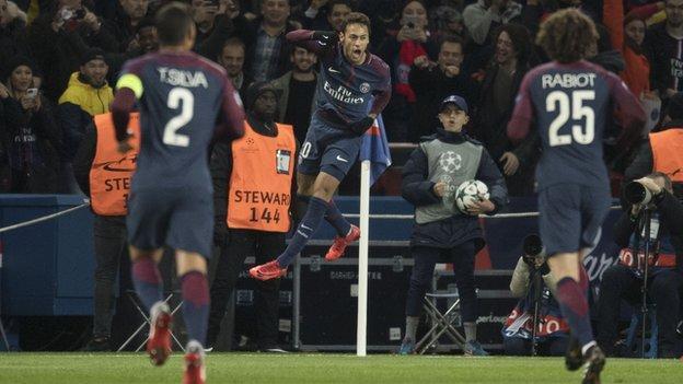 PSG striker Neymar celebrates