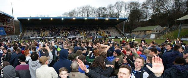 Halifax fans celebrate the Shaymen's trip to Wembley after beating Nantwich Town