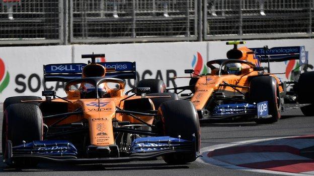 Carlos Sainz and Lando Norris of McLaren